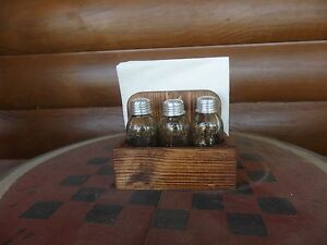 Mini Mason Jar Salt Pepper Shaker Toothpick Napkin Holder Kitchen Wood Table