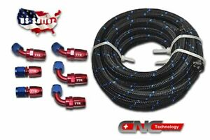An10 10an Fitting Steel Nylon Braided Oil Fuel Hose Line 12 Feet Kit