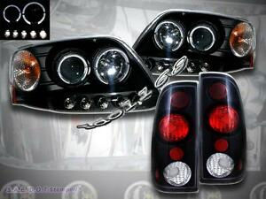 8 1997 2003 Ford F 150 Projector Headlights Black Twin Halo Led