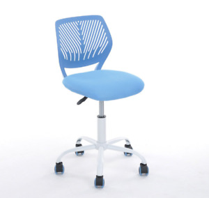 Desk Chair Mesh Back Support Blue With Wheels No Arms Kids Office Pc Computer