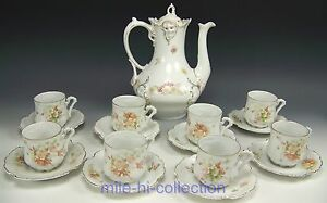 18 Pieces Hermann Ohme Silesia Flower Butterflies Tea Coffee Cups