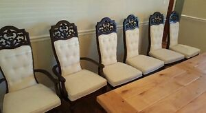 French Country Vintage Dining Chairs Carved Ornate Wood Set Of 6