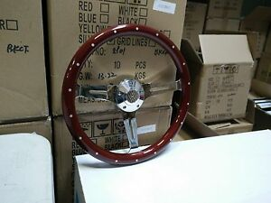 15 Billet Mahogany Steering Wheel Euro Wood W Rivets Adaptor