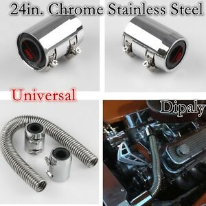 Universal 24in Chrome Stainless Steel Radiator Hose Kit With Cap radiator Cover