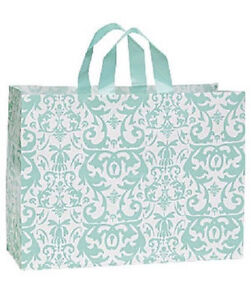 Shopping Bags Plastic 100 Aqua Blue Damask Frosty Frosted Retail 16 X 6 X 12