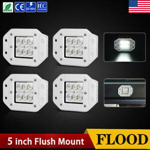 4x Flush Mount 5inch 24w Led Pods Light Truck Suv 4x4 Atv Reverse Driving Flood