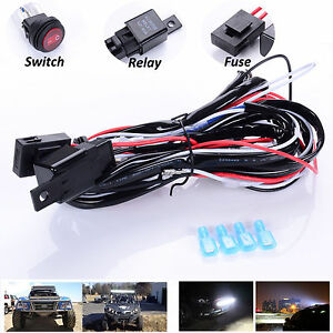 12v 40a Led Work Fog Light Bar Wiring Harness Kit On Off Switch Relay Cable Kit