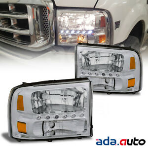 1999 2004 Ford Excursion f250 f350 Superduty Bright Led Chrome Headlights Pair