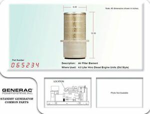 Generac Air Filter Element 065234 For 4 0l Hino Diesel Engines old Style