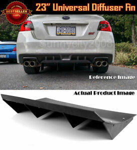23 X 9 Abs Black Universal Rear Bumper 4 Fins Curved Diffuser For Vw Porsche