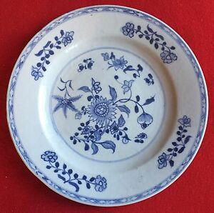 Antique Chinese Export Porcelain Dinner Plate Blue White 18th Century 1780