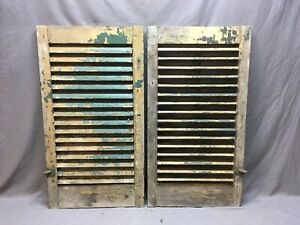 Antique Pair Window Wood Louvered Shutter Shabby Old Chic Vtg 36x19 299 17r