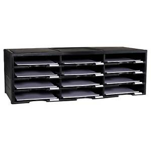 Storex Desktop Paper Sorter12 Compartment Storage Cabinet Durable Organizer Blk