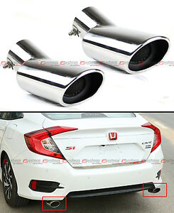 For 2016 17 Honda Civic Stainless Polished Muffler Exhaust Tip Finisher X 2