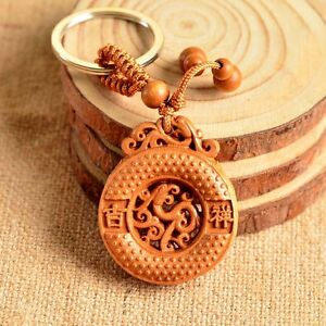 Wood Carving Chinese Feng Shui Geomancy Round Dragon Statue Key Chain Ring