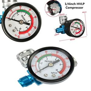 1 4 Mini Spray Paint Gun Regulator Air Pressure Gauge Hvlp Compressor 0 140psi