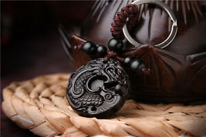 Ebony Wood Carving Chinese Dragon Loong Statue Sculpture Pendant Key Chain