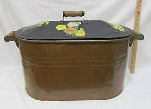Copper Plated Bath Tub Wash Bin Double Handles Lid Water Boiler Planter Ash