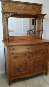 Antique Victorian Quartersawn Tiger Oak Sideboard Buffet Beveled Mirror Back