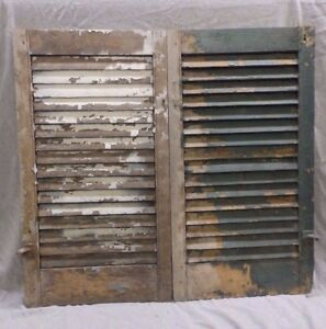 Antique Pair Window Wood Louvered Shutter Shabby Old Chic Vtg 19x36 357 17r