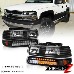 99 02 Silverado 00 06 Suburban Tahoe Black Headlight built in Led Bumper Lamp