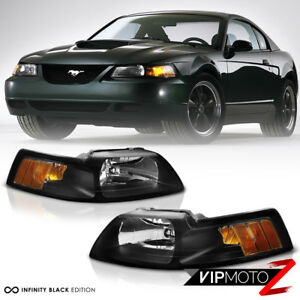 1999 2004 Ford Mustang Factory Style Black Amber Signal Headlights Left Right