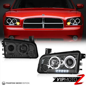 For 06 10 Dodge Charger Srt Se Sxt Daytona Dark Smoke Led Halo Headlights Lamps
