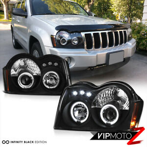 For 05 07 Jeep Grand Cherokee Wk Black Led Halo Projector Headlight Signal Lamp