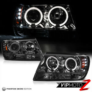 For 99 04 Jeep Grand Cherokee Laredo Limited Led Smoke Halo Projector Headlights