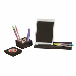 Safco Splash 4 Piece Wood Desk Organizer Set In Black