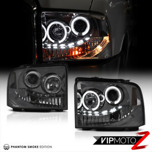 2005 2007 Ford F250 F350 Superduty Sd Smoke Drl Led Halo Projector Headlights