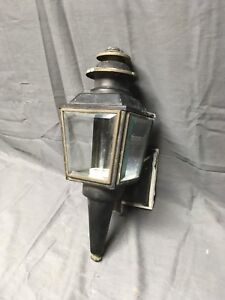 Vintage Copper Lantern Wall Sconce Light Fixture Beveled Glass Panels 204 17e