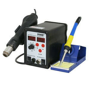 898d 110v Smd Electric Soldering Station Solder Iron Welding Kit W 11 Tips