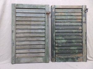 Two Antique Window Wood Louvered Shutter Shabby Old Chic Vtg 27x17 359 17r