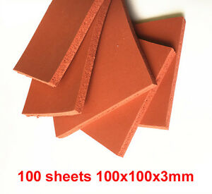 100 Sheets 3mm Thickness 10x10cm 4 x4 Silicone Sponge Rubber Sheet High Temp
