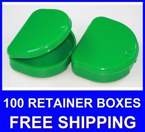100 Green Denture Retainer Box Orthodontic Dental Case Mouth Ortho Brace Teeth