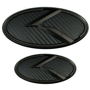 2 Black Carbon Fiber K Emblems Badges For Kia Trunk Or Hood Pair