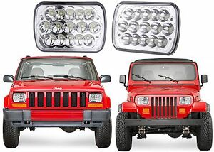 Pair Led Replacement Headlights For 1986 1995 Jeep Wrangler 1984 2001 Cherokee