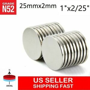 10 25 50 100pc 25mm X 2mm 1 x2 25 N52 Strong Disc Rare Earth Neodymium Magnet
