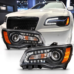 black Led Drl 2011 2014 Chrysler 300 Factory Style Headlight Lamps Replacement