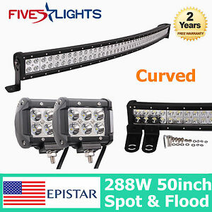 50inch 288w Curved Led Work Light Bar Combo Offroad Truck 18w 4 Cree Spot 48 52