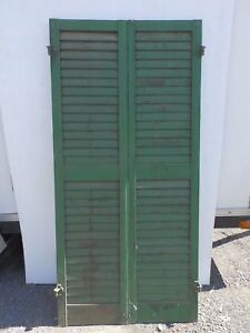 Pair Antique Window Wood Louvered Shutter Shabby Old Chic Vtg 62x15 380 17r