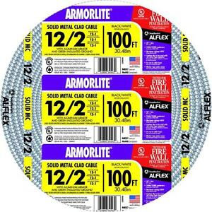 Armor Electrical Lite Cable Mc Solid Copper 3 wire Awg 12 100 Ft Indoor Durable