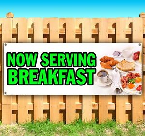 Now Serving Breakfast Advertising Vinyl Banner Flag Sign Many Sizes Available