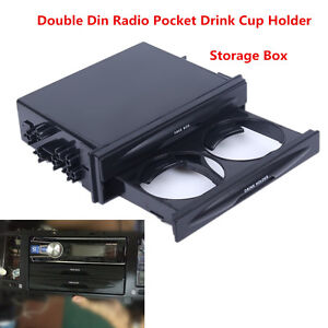 Universal Vehicle Car Black Double Din Radio Pocket Drink Cup Holder Storage Box