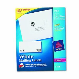 Avery 5163 Shipping Labels With True Block Technology 2 X 4 1 000 Ct White