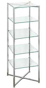 Collapsible Display Black 6 Tall Displayknockdown Glass Shelf Store Fixture New