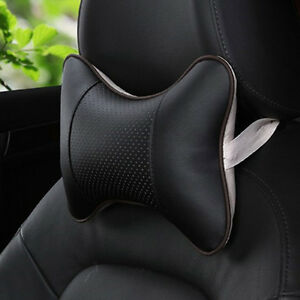 Car Seat Headrest Pad Memory Foam Leather Head Neck Rest Cushion Black Pillow