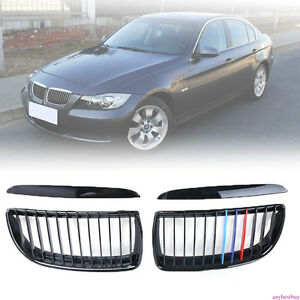 Glossy Black M color Front Kidney Grilles For Bmw E90 Sedan e91 Touring 4d 05 08