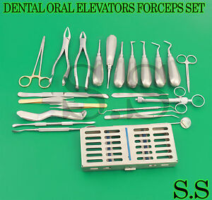 25 Pc Oral Dental Surgery Extracting Elevators Forceps Instrument Kit Set Dn 417